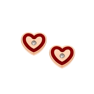 Product Σκουλαρίκια SENZA Red Hearts Rose Gold Steel base image